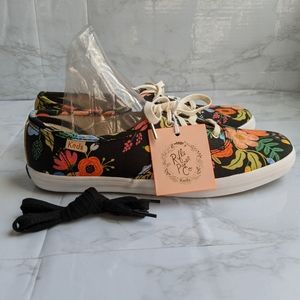 NWT Rifle Paper Co Keds, black floral, size 7